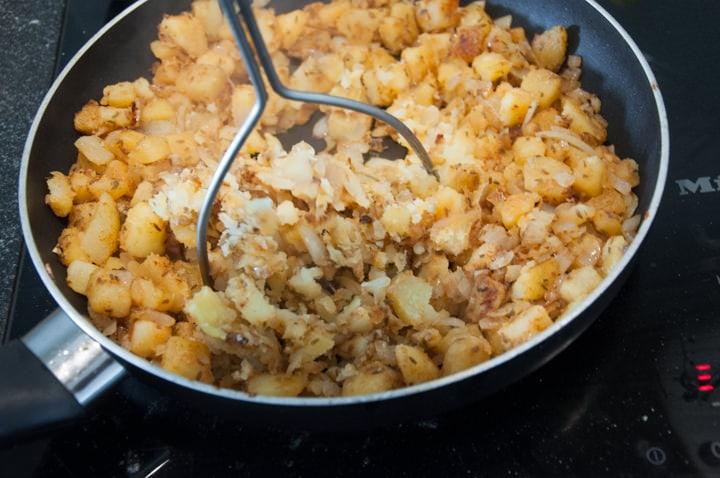 pierogi filling with potatoes, onions, and cumin