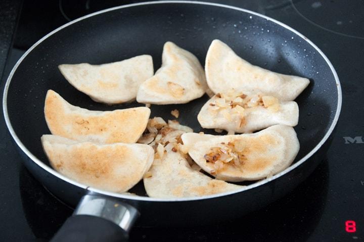 pan-frying vegan pierogi