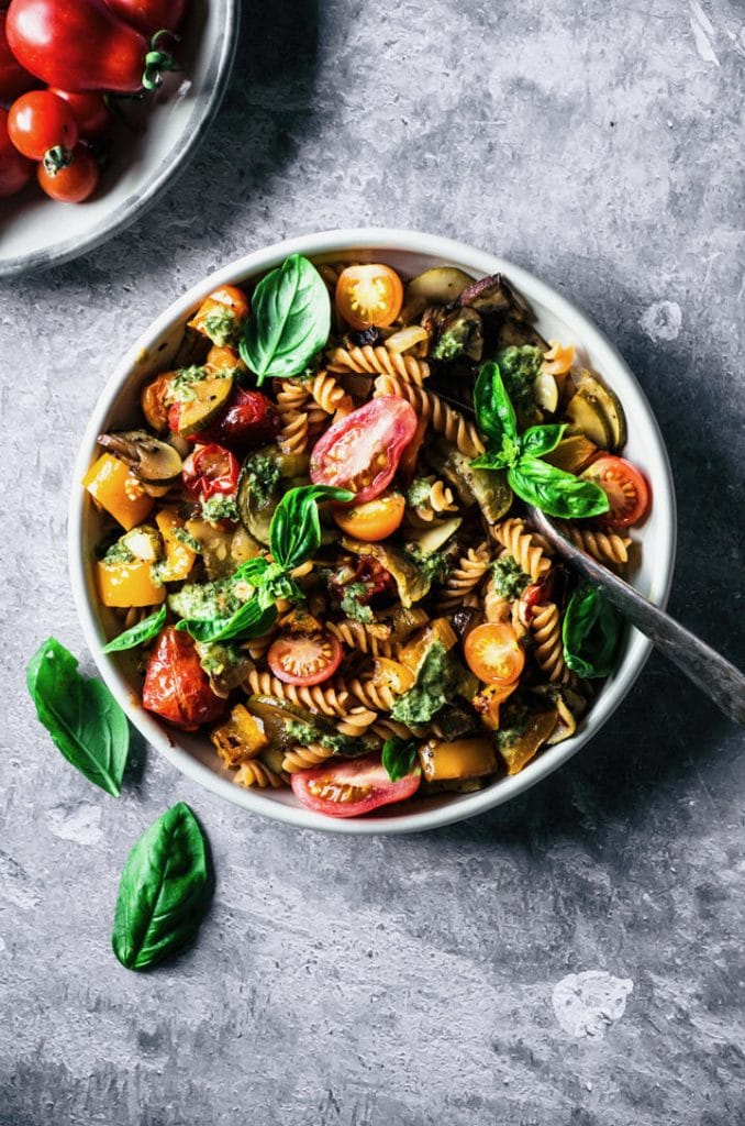 Summer pasta with roasted zucchini, tomatoes, peppers, and mushrooms
