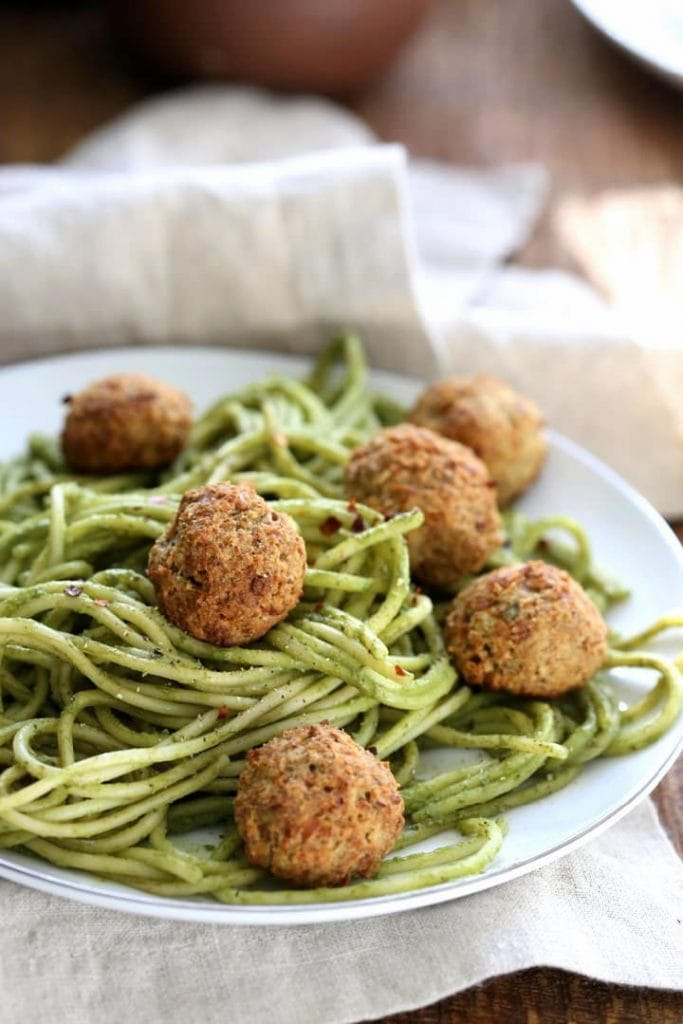 Pesto Spaghetti with Chickpea Meatballs