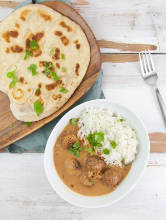 Easy Vegan Naan served with falafel curry and basmati rice