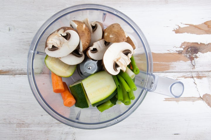 vegetables in food processor
