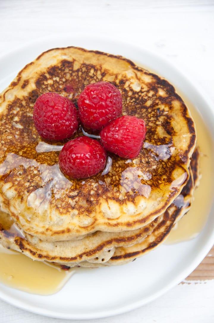 Vegan Raspberry & Vanilla Pancakes