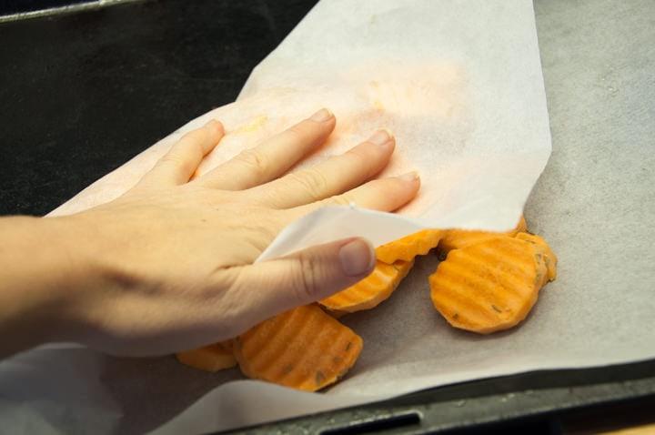 sweet potato slices on baking tray