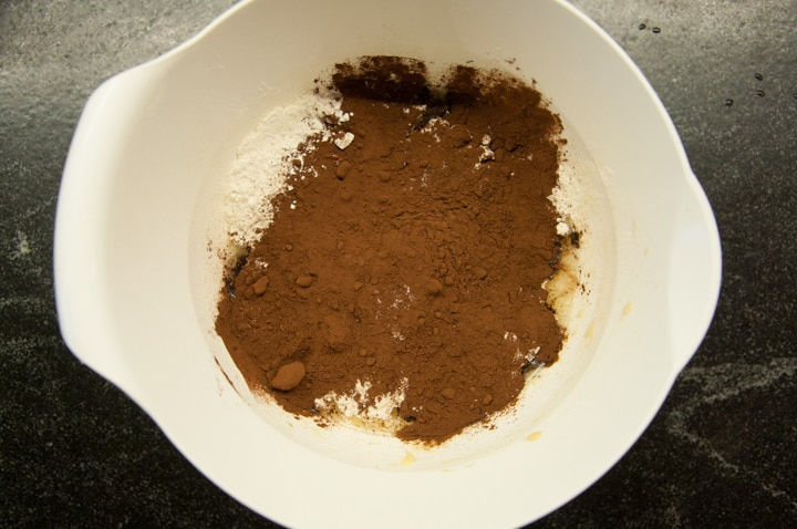 dry ingredients for chocolate waffles