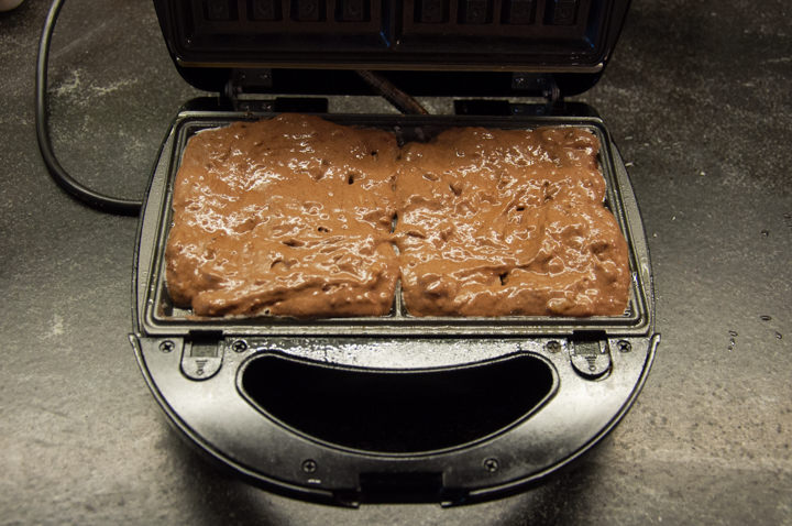 vegan chocolate waffles in waffle iron
