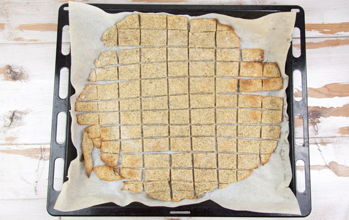 baked crackers on parchment paper