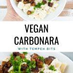 vegan carbonara with tempeh bits