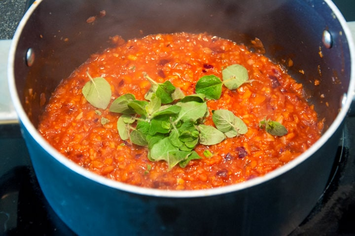 carrot bolognese sauce in a pot