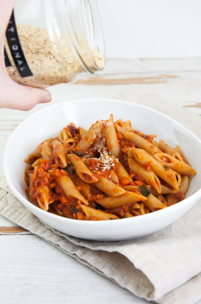 Carrot Bolognese with Nutritional Yeast