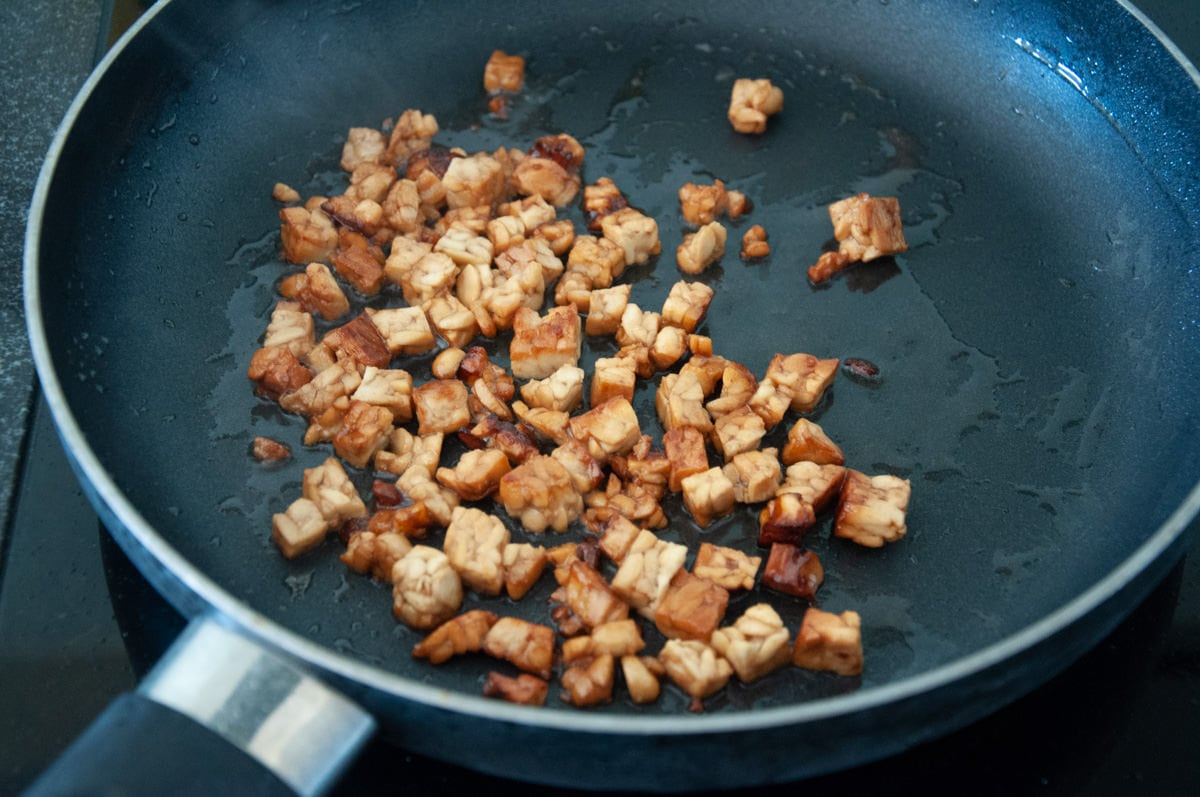 tempeh bits in pan