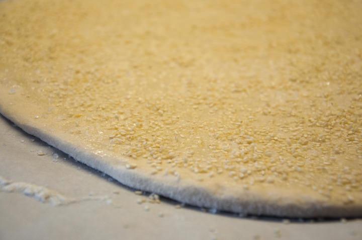 dough with sesame seeds