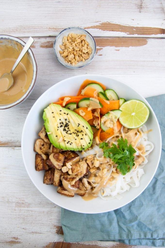 Tofu & Rice Noodle Bowl with peanut sauce