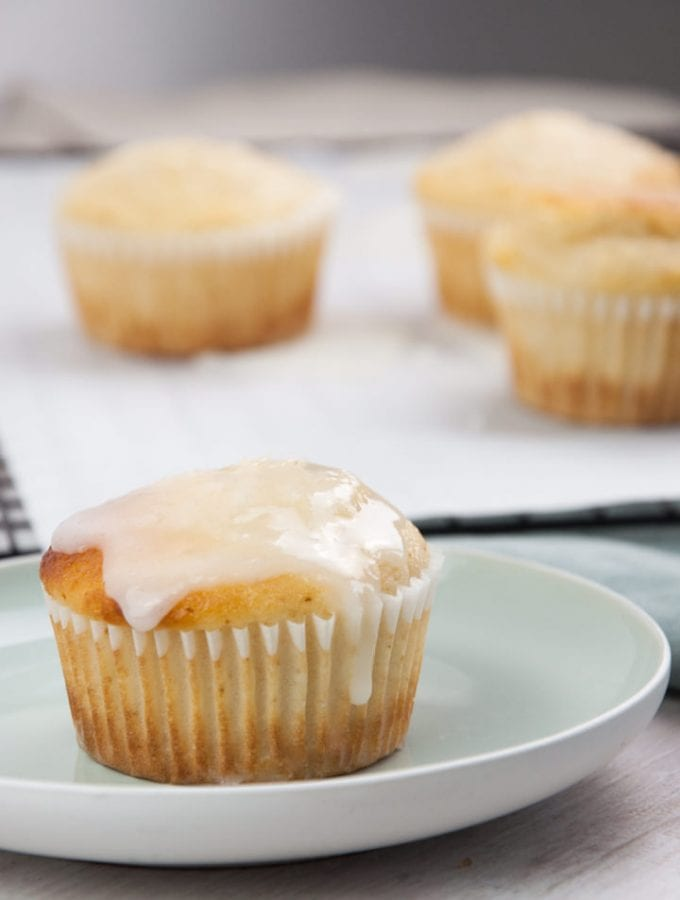 glazed vegan lemon muffins