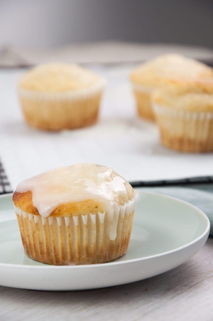 glazed vegan lemon muffins