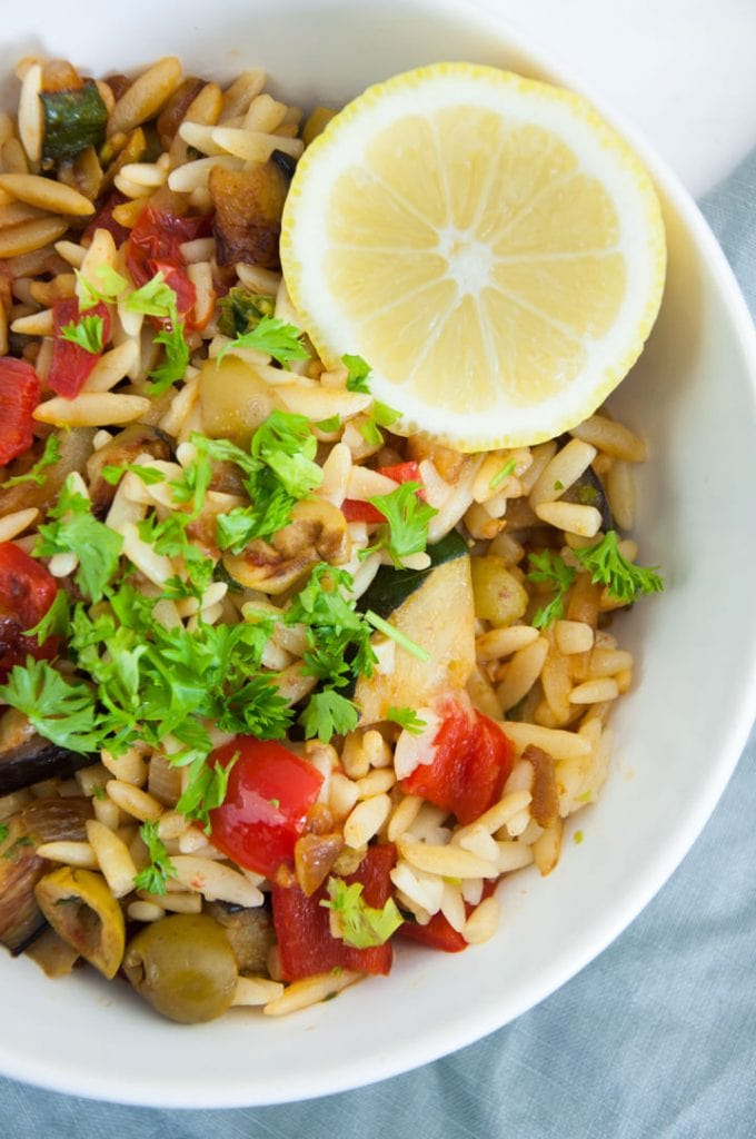 Orzo Pasta with Roasted Vegetables