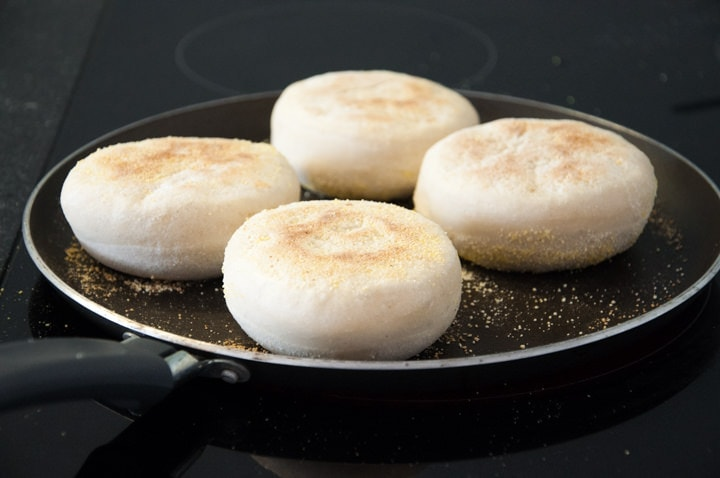 english muffins in the pan