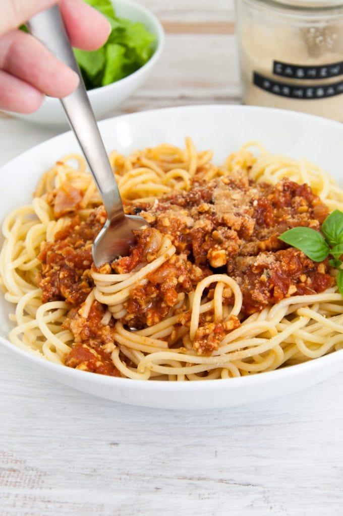 Tempeh Bolognese over spaghetti
