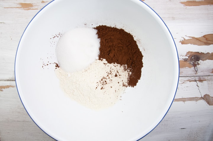flour, sugar and cocoa powder in bowl
