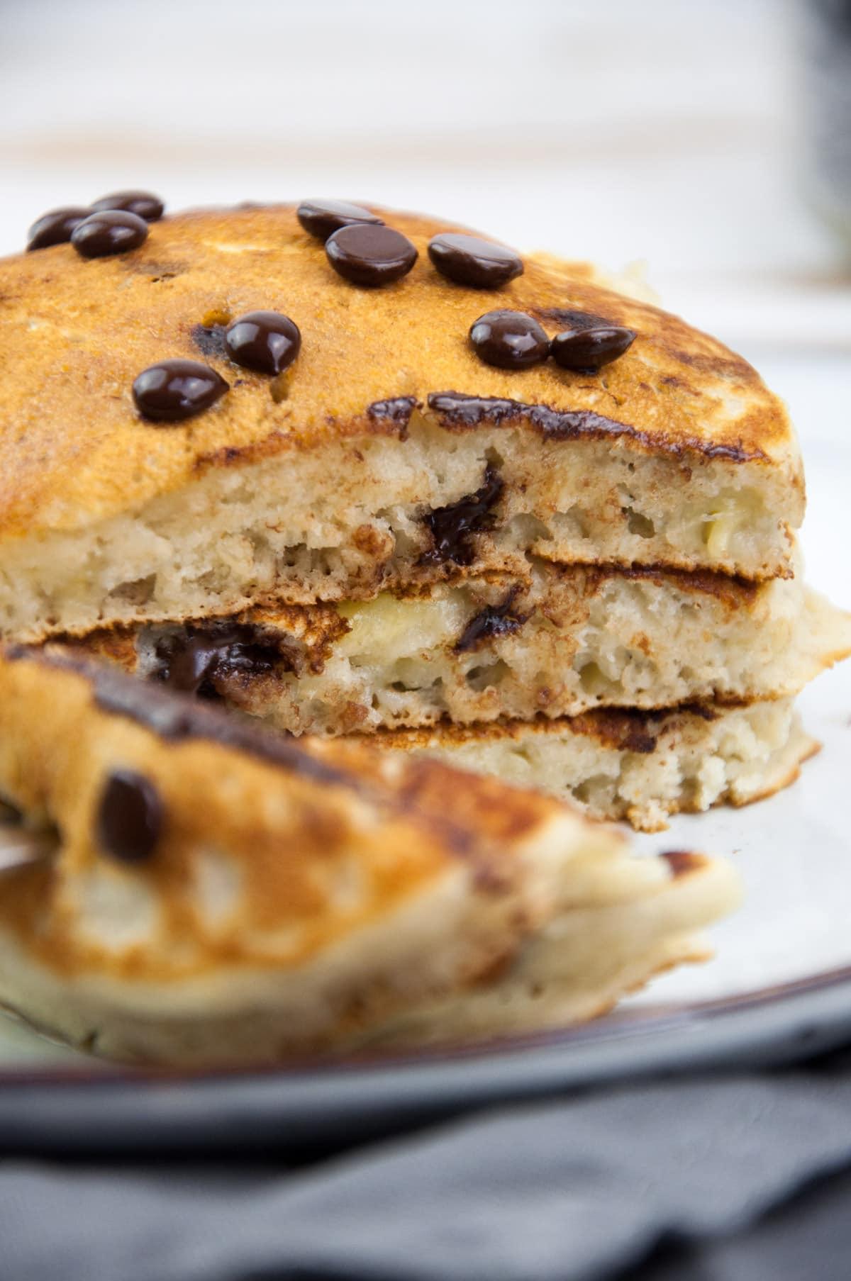 stack of vegan chocolate chip pancakes