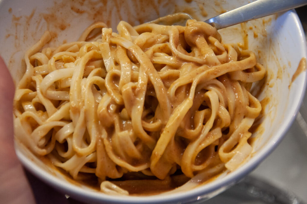 noodles in peanut butter sauce