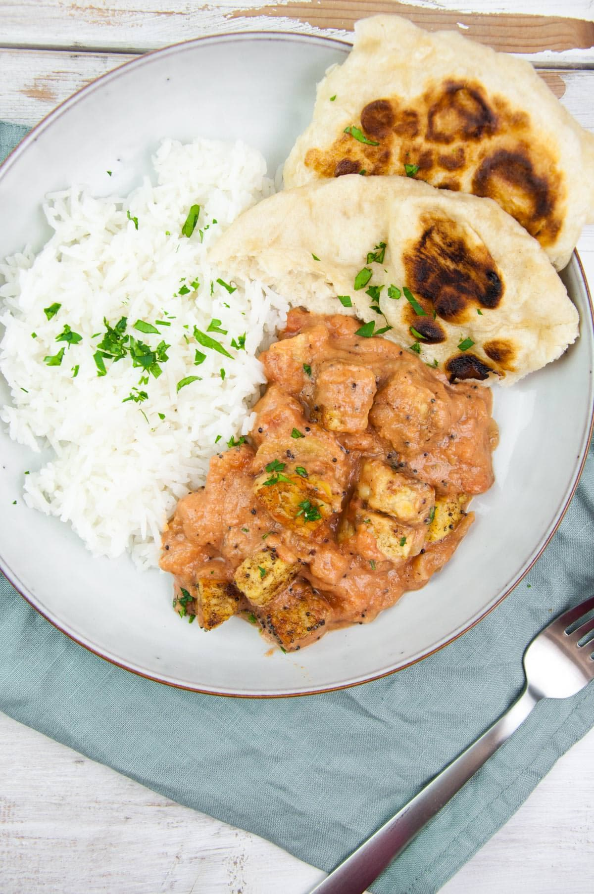 Vegan Tempeh Curry with basmati rice and naan