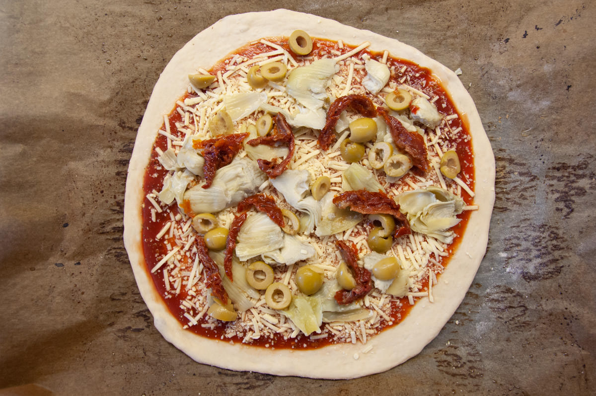 antipasti pizza before baking