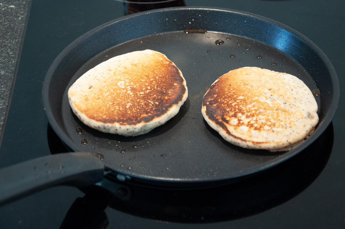 lemon poppy seed pancakes in pan