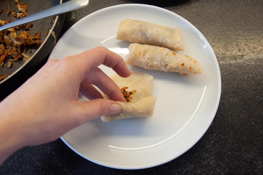 rolling vegan spring rolls