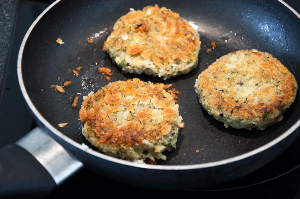 vegan crab cakes in pan