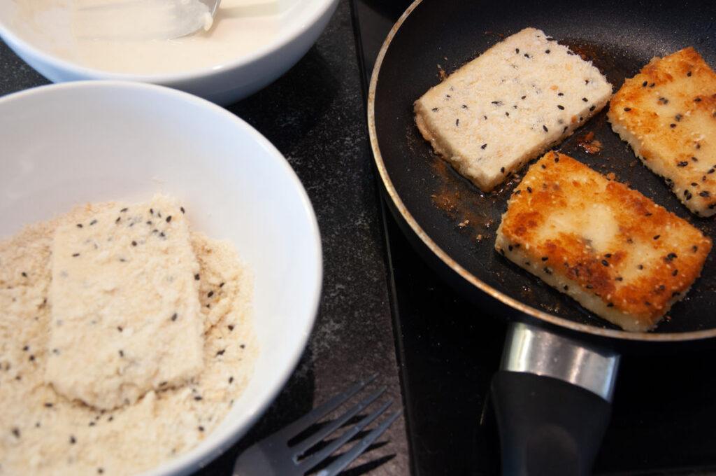 tofu katsu in pan