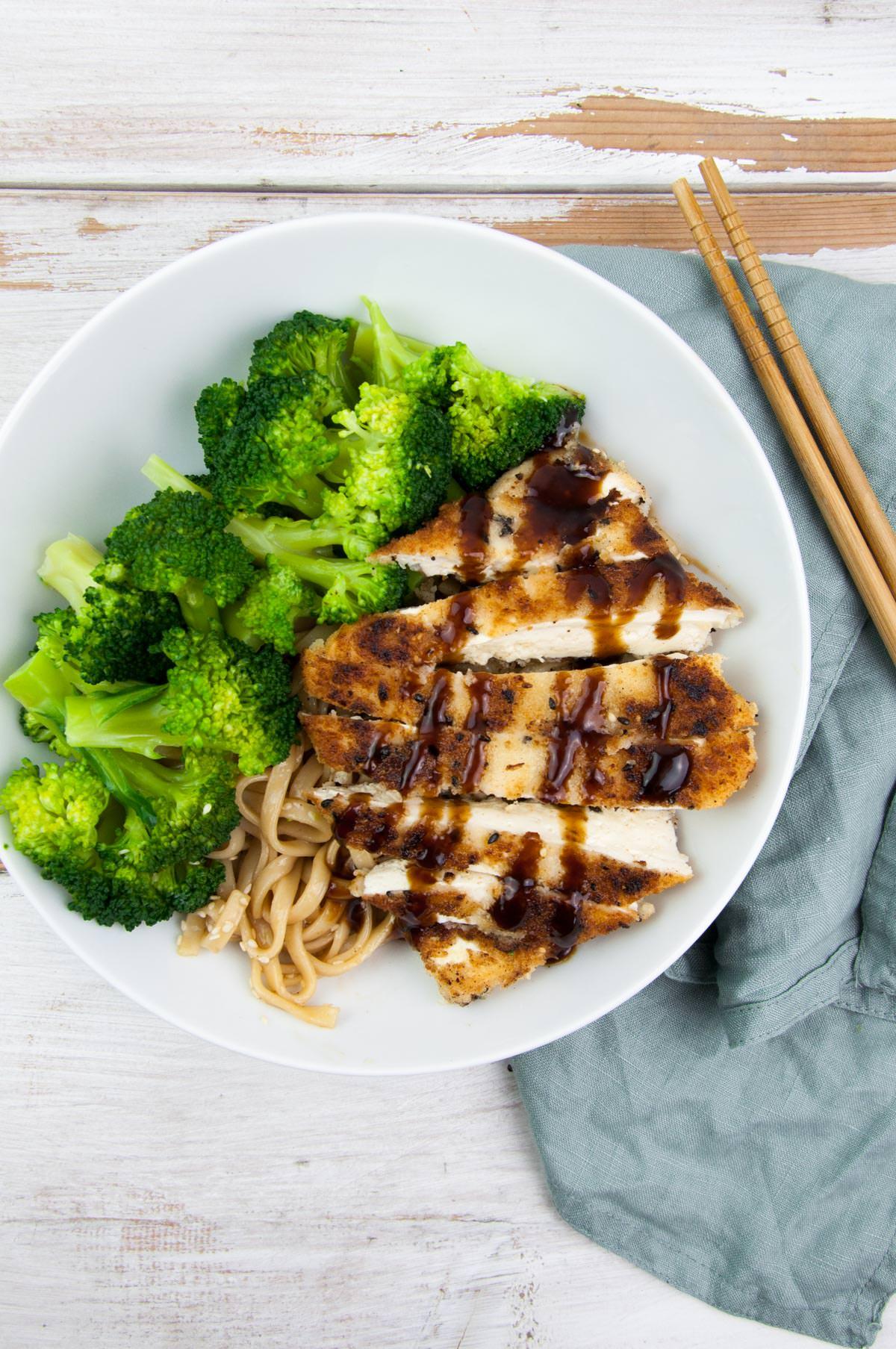 tofu katsu with broccoli