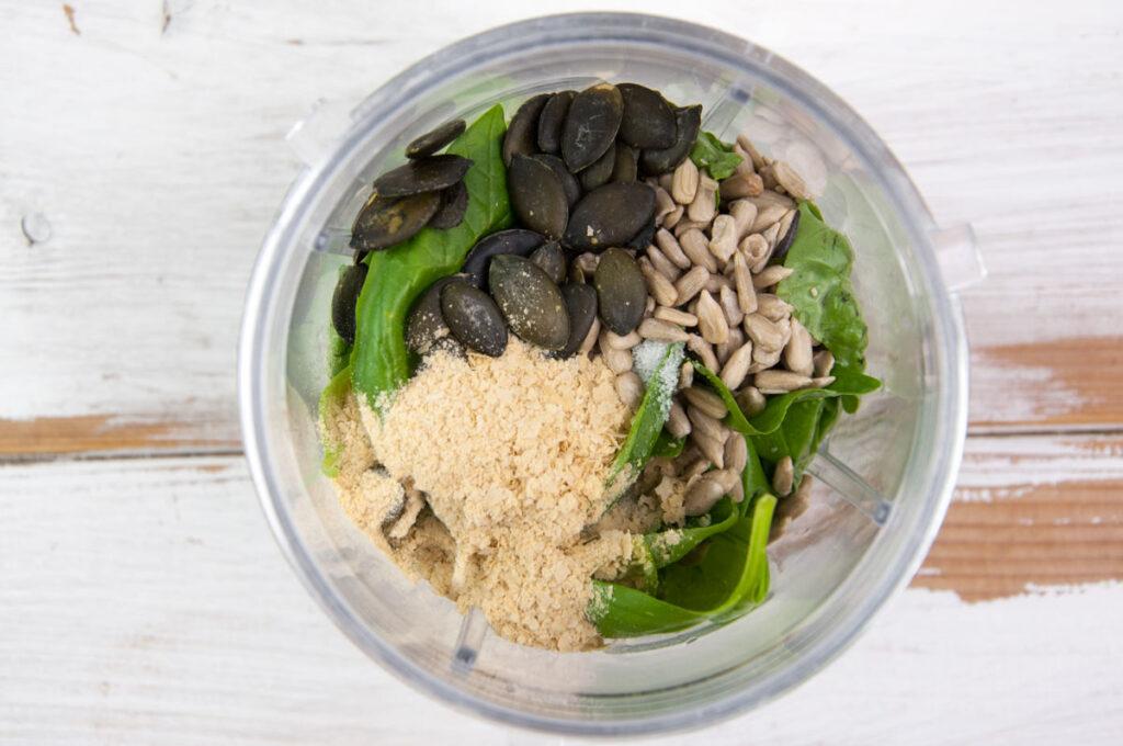 ingredients for basil pesto in blender
