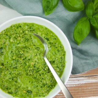 Healthy Basil Pesto (Oil-Free, Nut-Free, Vegan)