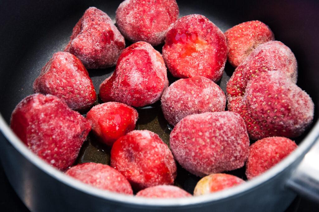 frozen strawberries in pot