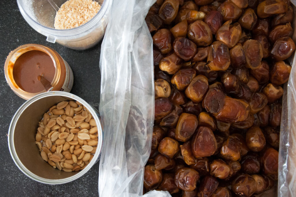 dates, almond butter, peanuts