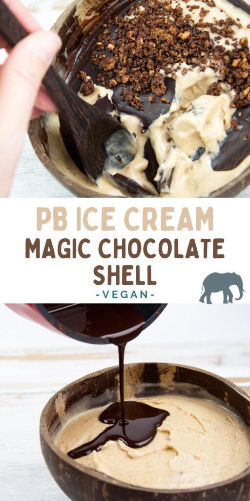 Peanut Butter Nice Cream with Magic Chocolate Shell